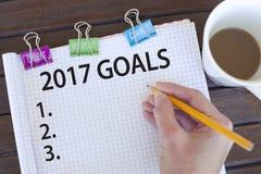 Doelstellingen voor nieuw jaar 2017 concept Stock Foto's