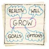 Doelstellingen, werkelijkheid, en opties - zal GROEIEN Stock Foto's