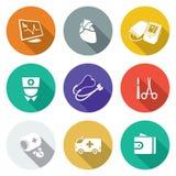 Doença cardíaca, ícones do hospital ajustados Ilustração do vetor Fotografia de Stock