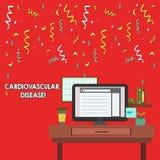 Doença cardiovascular do texto da escrita da palavra O conceito do negócio para circunstâncias envolve vasos sanguíneos reduzidos ilustração royalty free