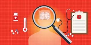 Doença do cérebro ou da cabeça com relatório médico ilustração do vetor