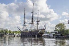 Doen在Scheepvaartmuseum阿姆斯特丹的VOC船荷兰 库存图片