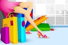 Doen die van de dame in Verkoop winkelt stock illustratie