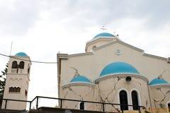 Doen ineenstorten kerk door Aardbeving in Kos-eiland Griekenland Royalty-vrije Stock Afbeelding