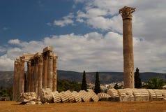 Doen ineenstorten Kolom, Athene, Griekenland Stock Fotografie
