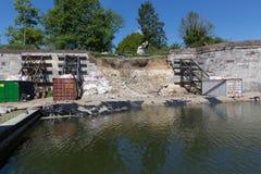 Doen ineenstorten stadsmuur in Maastricht van de binnenstad stock foto