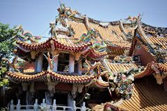 Doen ineenstorten Wuchang-Tempel in Jiji na de aardbeving 1999, Taiwan royalty-vrije stock foto