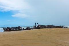 Doen mislukken voering S S Maheno op de kust van Fraser Island in Queensland, Australië royalty-vrije stock afbeelding