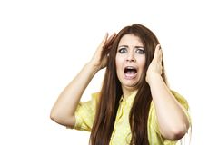 Doen schrikken angst aangejaagde volwassen vrouw stock foto's