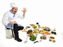 Doen schrikken chef-kok het zien van alle ingrediënten van zijn nieuw recept Stock Afbeelding
