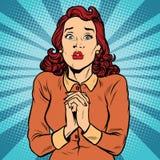 Doen schrikken die vrouwenhanden in gebed worden gevouwen vector illustratie