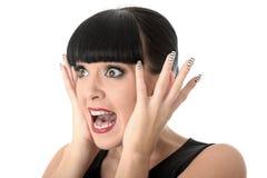 Doen schrikken Geschokte Ongerust gemaakte Jonge Vrouw stock afbeelding