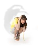 Doen schrikken jonge vrouw stock fotografie