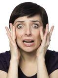 Doen schrikken jonge vrouw. Royalty-vrije Stock Foto's