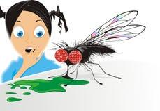 Doen schrikken meisje en grote vlieg Royalty-vrije Stock Afbeelding