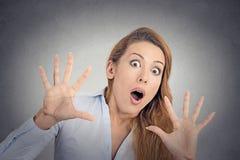 Doen schrikken meisje, vrouw stock fotografie