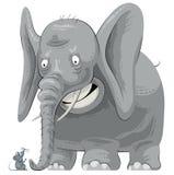 Doen schrikken olifant die muis ziet Royalty-vrije Stock Afbeelding