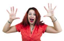 Doen schrikken Vrouw met omhoog Handen Royalty-vrije Stock Fotografie