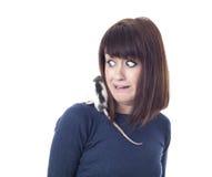Doen schrikken vrouw met rat Stock Fotografie