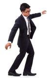 Doen schrikken zakenman die op onzichtbaar lopen stock foto's