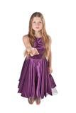 Doen van het meisje nodigt gebaar uit Stock Foto