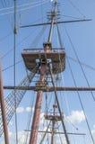 Doen VOC船的细节在Scheepvaartmuseum阿姆斯特丹的荷兰 免版税图库摄影
