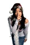 Doen zwijg de Komst van de Kerstman stock foto
