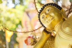 Doende leunen Gouden Boedha in Ubon, Thailand Stock Fotografie