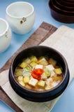 Doenjang stew, Korean stew. Doenjang stew, Doenjang jjigae, Bean paste stew, Korean stew Stock Images