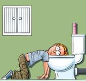 Doente adolescente do menino dos desenhos animados no toalete Foto de Stock Royalty Free
