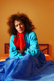 Doente na cama. Fotografia de Stock