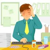 Doente no trabalho ilustração do vetor