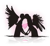 When does angel fall in love stock illustration