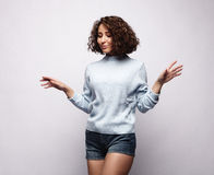 It does not matter. Curly girl does not pay attention to anything Royalty Free Stock Photos