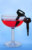 Doesn't Mix. Car keys in a wine glass filled with red liquid Royalty Free Stock Photo