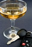 Doesn't Mix. Champagne glass with car keys stock images