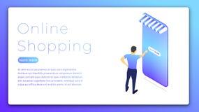 dof καρτών αγορές χεριών εστίασης ρηχές on-line πολύ Isometric απεικόνιση της αγοράς ατόμων on-line μέσω του smartphone Έννοια Ισ Στοκ Εικόνα