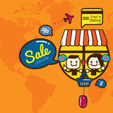 dof καρτών αγορές χεριών εστίασης ρηχές on-line πολύ διανυσματική απεικόνιση