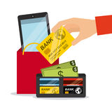 dof καρτών αγορές χεριών εστίασης ρηχές on-line πολύ Στοκ Εικόνα