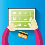 dof καρτών αγορές χεριών εστίασης ρηχές on-line πολύ στοκ εικόνες με δικαίωμα ελεύθερης χρήσης