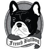 dof μπουλντόγκ τα μάτια στρέφουν το γαλλικό πορτρέτο ρηχό Απομονωμένη διανυσματική απεικόνιση σκυλιών Στοκ εικόνα με δικαίωμα ελεύθερης χρήσης