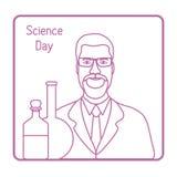 Επιστήμονας, εξοπλισμός εργαστηρίων Ημέρα επιστήμης Χημεία διανυσματική απεικόνιση