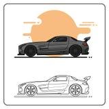 Doff la vista lateral de los coches estupendos libre illustration