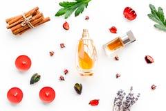 Doft med ljus frukt-, blom- kryddig doft Ingredienser för doft Flaska av doft nära torra blommor royaltyfri bild