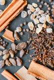 Doftande kryddor på en mörk bakgrund Royaltyfri Foto