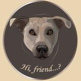 "Dog's portrait. ""hi, friend"", vector hand drown illustration Stock Photography"