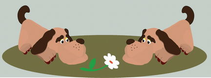 Dog. Two dogs smell and look at a camomile Royalty Free Illustration