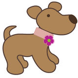 Dog. Cartoon dog with bright pink flower Stock Photos