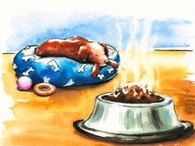Dog. Brown dog is laying near a dog food bowl. Picture I have created with watercolors Stock Photo