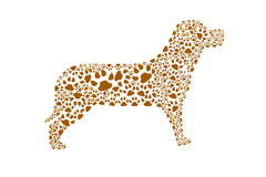 Dog. Illustration, showing standing dog made with paws Royalty Free Stock Image